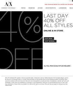 Pinned March 31st: Everything is 40% off today at #A|X #Armani Exchange, ditto online #coupon via The Coupons App