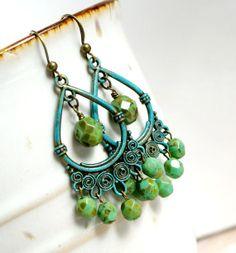 gypsy queen rustic patina chandelier earrings