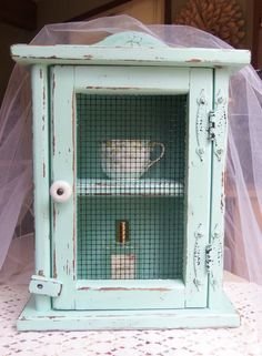 Vintage Cottage Shabby Chic Table Top Cabinet-$45