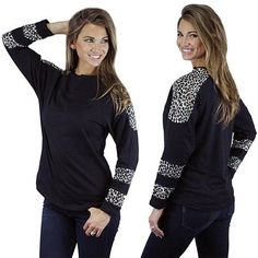 * Black Long Sleeve with Leopard Shoulders and Stripes