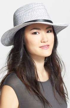 August Hat 'Salt & Pepper' Floppy Fedora at Nordstrom.com. Top off your urban expeditions with this grey straw fedora, banded with black faux leather to keep the look crisp and contemporary.