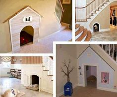 Dog houses under stairs
