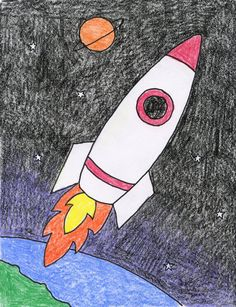 How to Draw an Easy Rocket · Art Projects for Kids. Here's a rocket drawing easy enough for even first graders to try. And since every rocket needs a window so you can draw yourself inside, right? drawing How to Draw an Easy Rocket Rocket Drawing, Spaceship Drawing, Easy Drawings For Kids, Drawing For Kids, Art For Kids, Step By Step Drawing, Drawing Art, Space Drawings, Art Drawings Sketches