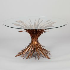 Check out this ... Mid Century Gilded Metal Wheat Sheaf Table!    1940s cocktail or side table has a gilded metal base in the form of gathered wheat sheaves! @judyfrankelantiques      #midcentury #cocktailtable #sidetable   #gorgeous #giltmetal #antiques   for more details on this piece check out my page!...     @judyfrankelantiques