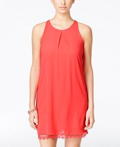 BCX Juniors' Sleeveless Lace-Hem Sheath Dress
