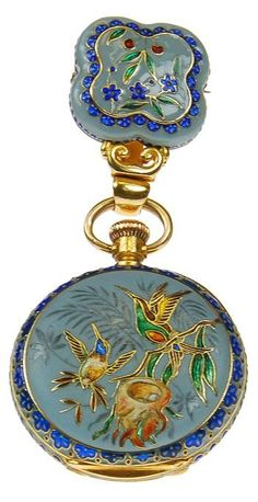 Yellow Gold and Enamel Pendant Watch Depicting A Bird Scene. 18k yellow gold and enamel pendant watch depicting a bird scene, made for the Chinese market. Switzerland, circa 1880.