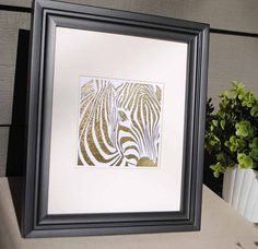 Gold Foil Zebra Art Print  Matted to 8x10 by ColorMeUncommon