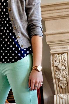 mint pants + navy blue polka dot top + gray cardigan