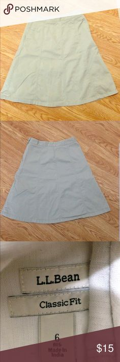 "L.L. Bean A-line skirt Gently used beige L.L. Bean A-line classic fit skirt size 6. Measures 13"" across waist, and is 24"" in length. L.L. Bean Skirts A-Line or Full"