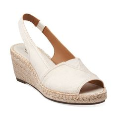 139ac3dcaf66 Petrina Rhea Off White Linen Fabric - Womens Medium Width Shoes - Clarks  Clarks Sandals