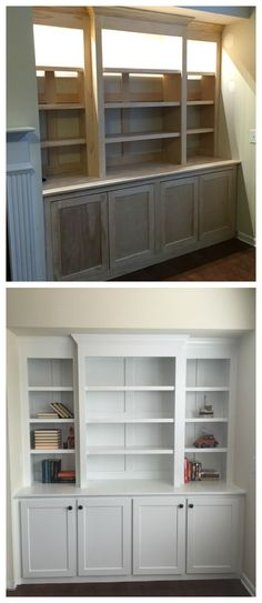 Amazing diy built-in buffet shelving from plywood and pine. DIy Furniture plans build your own furniture (Furniture Designs Built Ins) Living Room Built Ins, My Living Room, Living Room Built In Cabinets, Diy Furniture Plans, Furniture Design, Repurposed Furniture, Cheap Furniture, Furniture Projects, Furniture Making