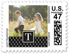 Patterned Dot Monogram Personalized Postage Stamps, Square, Black