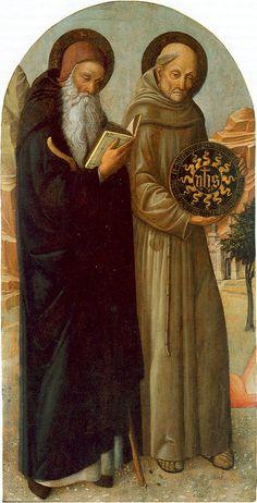 [Renaissance] 1460 - Saint Anthony Abbot and Saint Bernardino da Siena - Jacopo Bellini