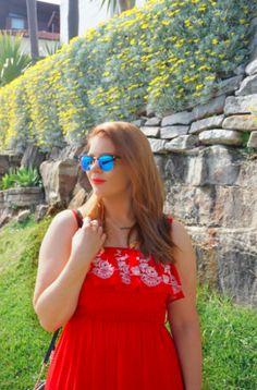 Blush & Bordeaux - Spring Red Dress. Nashville dress, Oroton sandals, Michael Kors crossbody, Ray Ban sunglasses, Baublebar necklace