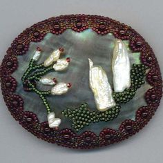 Mother of Pearl . Beaded Sea Shell . Beadwoven by enchantedbeads, $89.00