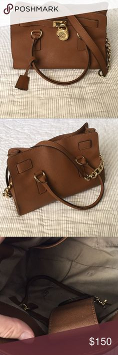 Michael Kors Hamilton Saffiano Leather Bag- Brown Michael Kors Hamilton Saffiano Leather Satchel- Brown. Small hole in inside lining (pictured). Overall good condition. MICHAEL Michael Kors Bags Satchels