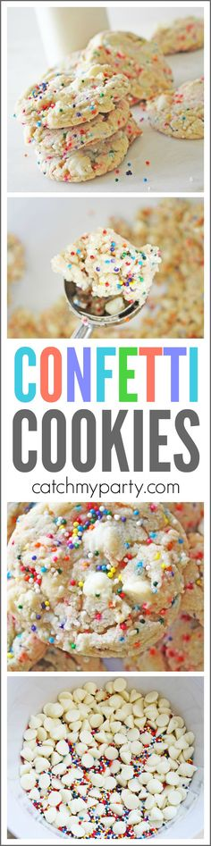 Cake Batter Confetti Cookie Recipe | CatchMyParty.com Cookie Time, Cookie Swap, Confetti Cookies, Cookie Recipes, Dessert Recipes, Vanilla Cake Mixes, Sprinkle Cookies, Homemade Donuts, Easy Pie