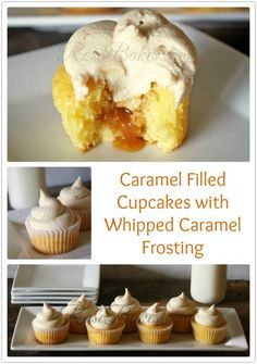 Caramel Filled Cupcakes with Whipped Caramel Frosting {Recipe!} | http://rosebakes.com
