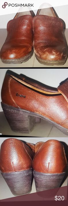 BOC brown leather clogs shoes size 7 BOC born concept brown leather clogs size 7 heel height- 2.75 inches  heel to toe- 9.5 inches b.o.c. Shoes Mules & Clogs