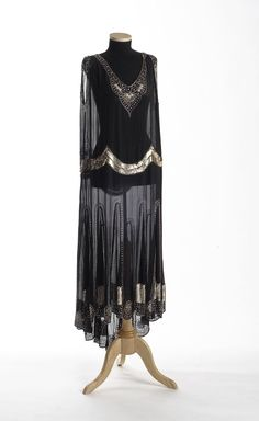 Black Crepe Dress - 1920's - by François Bacus, Lunéville, France - Ornamented with silver sequins, glass beads & rhinestones - The Charleston Museum