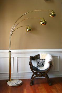 Vintage Brass Arc Floor Lamp Mid Century Orb Lamp by RhapsodyAttic