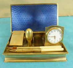 French Silver Travelling Desk Set Clock Inkwell Seal Stamp Box Pen Enamel C1920