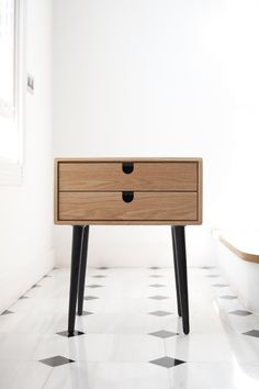 MidCentury Scandinavian Side Table / Nightstand Two by Habitables