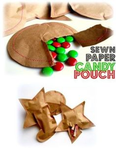 12 Cool Kraft WrappingIdeas - sewn paper candy pouches