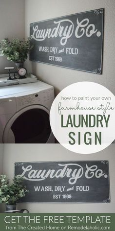 Paint Your Own Fixer Upper Magnolia Market Style Farmhouse Laundry Sign With Free Printable Template #farmhousesign