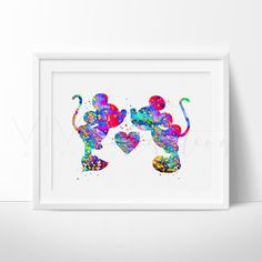 Mickey Mouse and Minnie Mouse Love Kissing Art Print Wall Decor. This art illustration is a composition of digital watercolor images and silhouettes in a minimalist style.