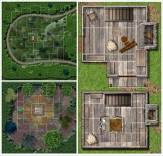 Foto: Here's one of the 3 maps I did for Purple Duck Games, though this is kind of a 3-in-1 map with a wide area view, exterior view, and interior views, though the interior views are extra-dimensionally larger than the exterior view. From outside its a single story small cabin, from inside its a small 2 story colonial house. The irregular grid is defined as a grid of events or activity, rather than scale - something to do with Marvel Superheroes RPG rules for grids.