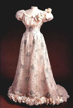 fawnvelveteen:  Beaded and sequined pink satin and chiffon evening dress by Nadezhda Lamanova, Russian, 1890s. Made for Empress Alexandra Feodorovna.