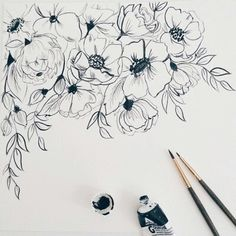 Thin brush flower painting