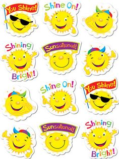 Suns Stickers by Creative Teaching Press Reward Stickers, Teacher Stickers, Cubby Tags, Pig Crafts, Sheep Crafts, Funny Emoji Faces, Kids Rewards, Creative Teaching Press, Star Students