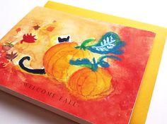 Black Cat Hiding Behind a  Pumpkin Halloween Card by loveofdrawing, $3.50