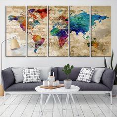 21175 - World Map Wall Art- World Map Canvas- World Map Print-  World Map Poster- World Map Art- World Map Push Pin