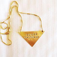 "Stamped Metal Triangle Pendant Necklace: Grateful Dead Song - ""Sugar Magnolia"""