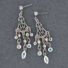 Sadie Green's Aurore Boreale Crystal Rhinestone Chandelier Earrings