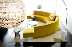 Inspiring Yellow Sofas To Perfect Living Room Color Schemes 16 - DecOMG Circular Couch, Curved Sofa, Gebogenes Sofa, Sofa Furniture, Upholstered Sofa, Sofa Design, Interior Design, Leather Sofa Sale, Leather Sectional
