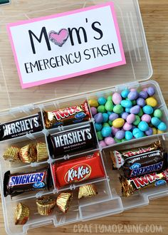 Moms emergency candy stash- tackle box fishing organizer! GENIUS!! Easy mothers day gift idea