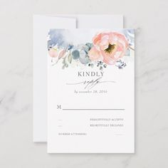 Shop Peach Watercolor Flower Elegant Dusty Blue Wedding RSVP Card created by lovelywow. Personalize it with photos & text or purchase as is! Blue Peach Wedding, Dusty Rose Wedding, Dusty Blue Weddings, Wedding Pastel, Lily Wedding, Wedding Rsvp, Boho Wedding, Elegant Wedding, Wedding Invitations