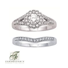 14K White Gold Wedding Set 3/8 carat center 5/8 carat total weight (13F)