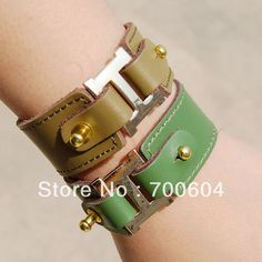 2013 New Style High Quality Women Fashion Real Leather Wide Cuff Punk Statement Bangle Bracelets, Jewelry Accessories, Wholesale-in Statement Jewelry from Jewelry on Aliexpress.com