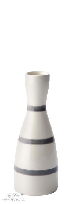 Krémová váza - svícen  Dolomite, šedé pruhy