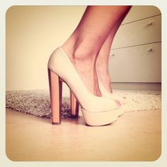 love nude heels with thick heels