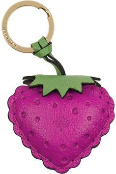 Mulberry leather strawberry key ring                                  Leather strawberry keyring