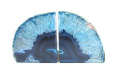 Blue Agate Bookends  Agate geode bookends by WingedWorld on Etsy