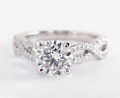 1.74 Carat Diamond in the  Infinity Twist Micropavé Diamond Engagement Ring   Blue Nile