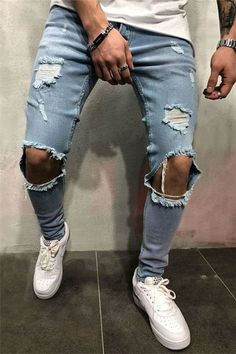 New Fashion Streetwear Men's Hip Hop Skinny Zipper Destroyed Ripped Jeans Outfit Jeans, Lässigen Jeans, Casual Jeans, Jeans Style, Men Casual, Good Jeans, Stylish Jeans For Men, Plaid Jeans, Biker Jeans