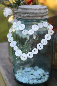 button jar ~ the glittered top and button cute place to store your buttons. My Funny Valentine, Valentines, Button Art, Button Crafts, Button Letters, Mason Jar Crafts, Mason Jar Diy, Crafts To Make, Fun Crafts